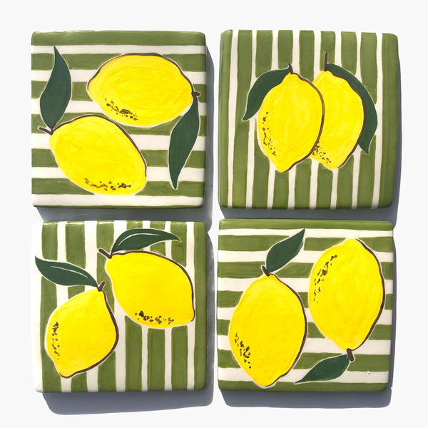 Lemons with green stripes handmade tile - Megan Bentley
