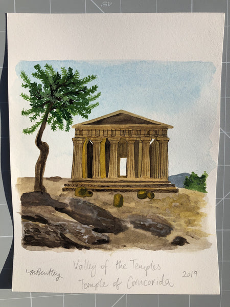Valley of the Temples original watercolour painting - Megan Bentley