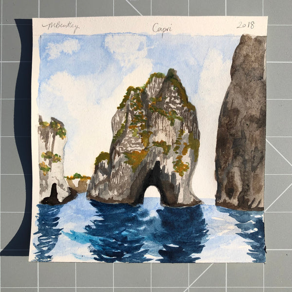 Capri original watercolour painting - Megan Bentley