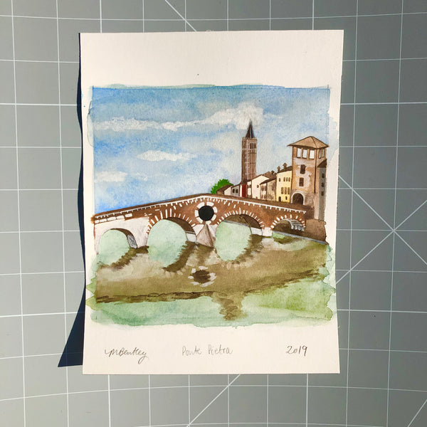 Ponte Pietra Verona original watercolour painting - Megan Bentley