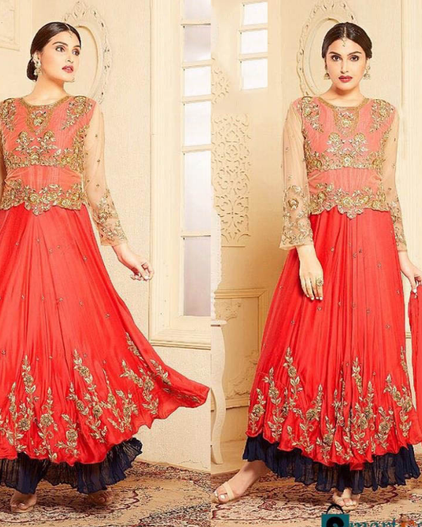 Round Georgette Embroidery Work Dress
