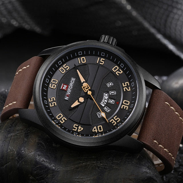 NAVIFORCE Fashion Sports Watches Men Leather Strap Waterproof watch
