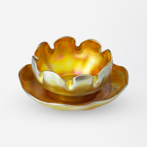 Tiffany Studios Favrile Glass Bowl and Saucer