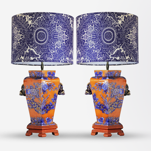 Pair of Chinese Polychrome Lamps