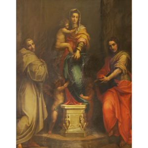 19th Century Madonna delle Arpie Oil Reproduction - The Antique Guild