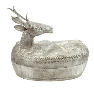 Cambodian Silver Deer Shaped Betel Nut Container - The Antique Guild