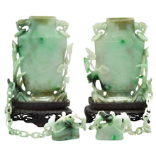 Load image into Gallery viewer, Pair of Early 20th Century Jadeite Covered Vases - The Antique Guild