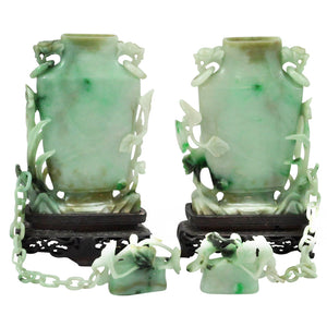 Pair of Early 20th Century Jadeite Covered Vases - The Antique Guild