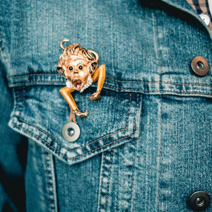 Asprey London 18k Gold and Enamel Monkey Pin - The Antique Guild