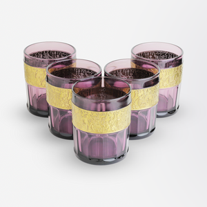 Set of Five Amethyst Glass Tumblers in the Moser Taste