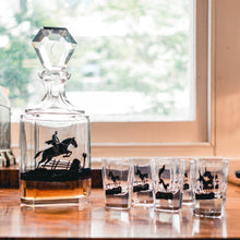Load image into Gallery viewer, Art Deco Decanter and Shot Glasses Set Decorated with Fox and Hounds - The Antique Guild