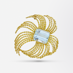 Retro Period, Gold and Aquamarine Brooch Pin