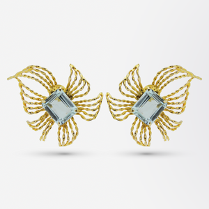 Retro Period, Aquamarine and 10kt Gold Earrings