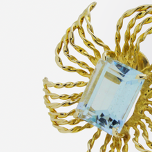 Load image into Gallery viewer, Retro Period, Aquamarine and 10kt Gold Earrings