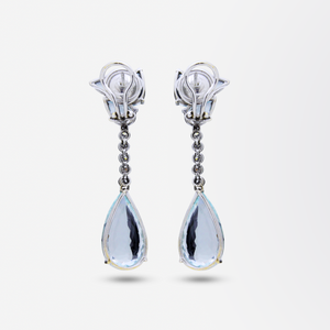 Pair of 18kt Gold, Diamond and Aquamarine Drop Earrings