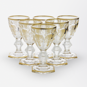 Set of Six Baccarat Crystal Dessert Wine Glasses in the Empire Pattern