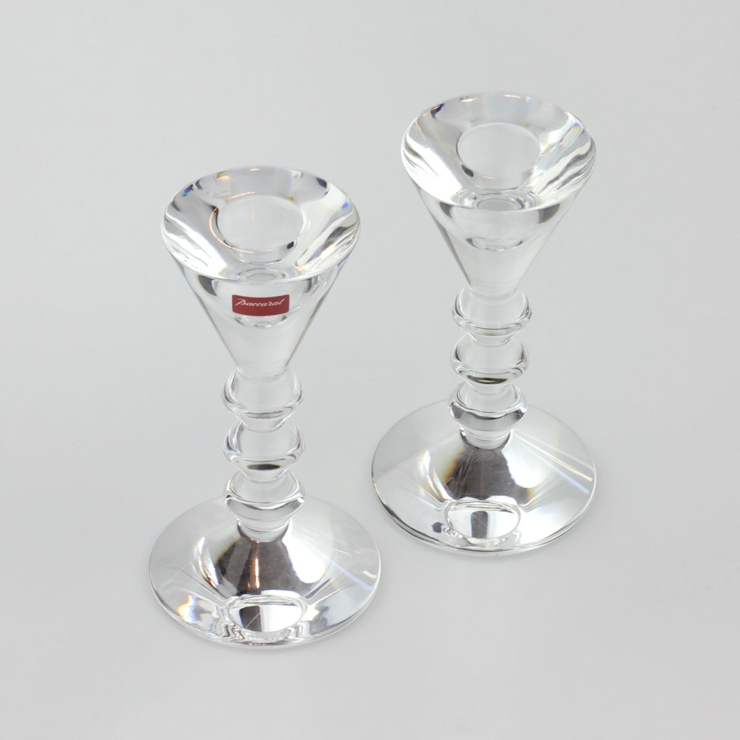 Modern Pair of French Crystal Candlesticks by Baccarat - The Antique Guild