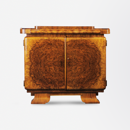 Art Deco Burl Walnut Bar by Jindrich Halabala, Brisbane, Melbourne, Sydney