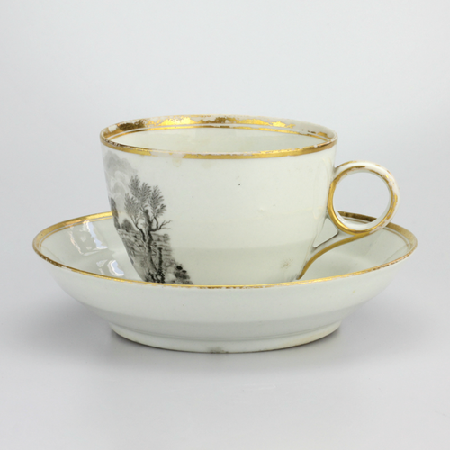 Georgian Cup and Saucer with Bat Printed Scenes - The Antique Guild