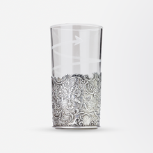 Load image into Gallery viewer, Repousse Silver and Etched Glass Beaker