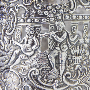 Repousse Silver and Etched Glass Beaker