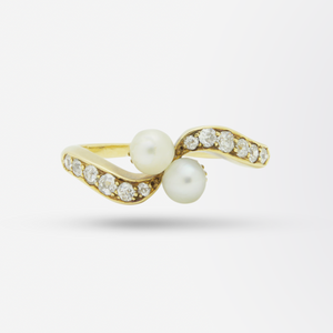 18kt Gold, Diamond and Pearl 'Toi et Moi' Ring
