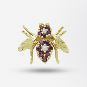 18kt Gold Bee Pin with Rubies and Pearls