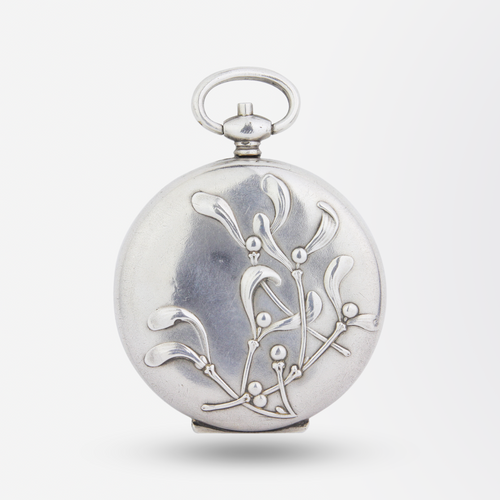 Large French Silver Mistletoe Locket