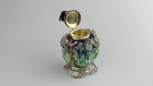 Load image into Gallery viewer, Edward I. Farmer Inkwell in Sterling, Fluorite, Amethyst - The Antique Guild
