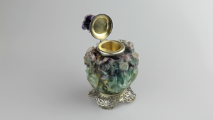 Edward I. Farmer Inkwell in Sterling, Fluorite, Amethyst - The Antique Guild