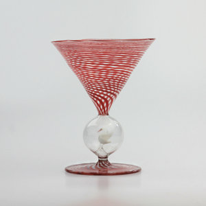 1930s Bimini Art Glass Coupe with Swan Stem - The Antique Guild