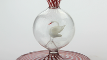 Load image into Gallery viewer, 1930s Bimini Art Glass Coupe with Swan Stem - The Antique Guild