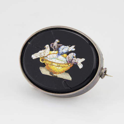 Micromosaic Bird Brooch - The Antique Guild
