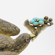 Load image into Gallery viewer, Gilt Silver, Turquoise, and Ruby Dove Brooch