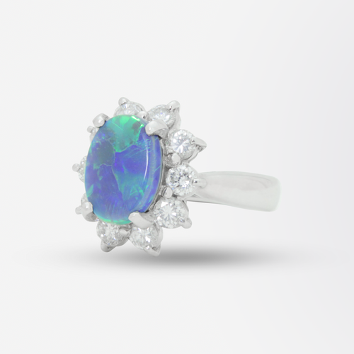 Platinum, Lightning Ridge Opal, and Diamond Ring