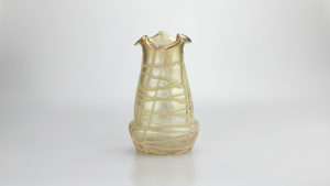Bohemian Glass Vase with Stringed Overlay by Loetz - The Antique Guild