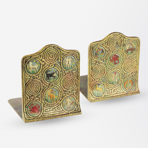 Tiffany Studios Zodiac Bookends