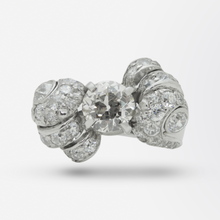 Load image into Gallery viewer, Retro Period Platinum and Diamond Bow Ring