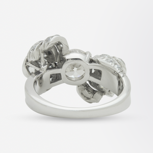 Retro Period Platinum and Diamond Bow Ring