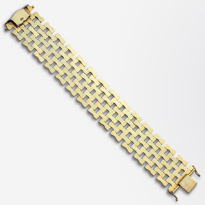 Retro Period, 14kt Yellow Gold, Seven Row Tank Bracelet