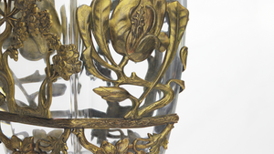 French Glass and Bronze Vase Attributed to Marcel Bing