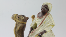 Load image into Gallery viewer, Cold Painted Bronze Inkwell of Man on Camel - The Antique Guild