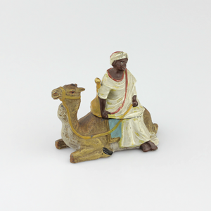 Cold Painted Bronze Inkwell of Man on Camel - The Antique Guild
