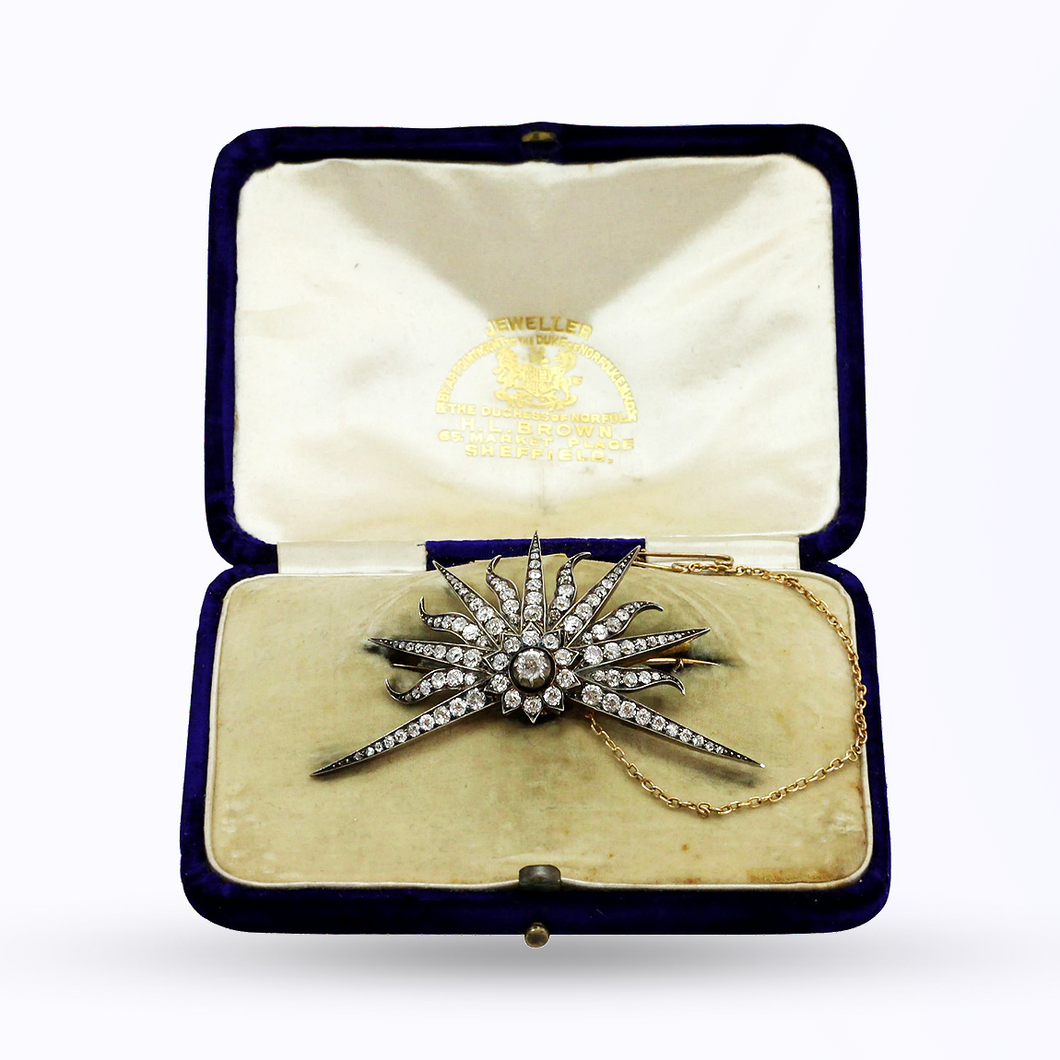 Edwardian 14kt Gold, Silver & Diamond Starburst Brooch