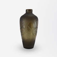 Load image into Gallery viewer, Verart Paris Art Deco Glass Vase with Acid Etched Leaves and Stags