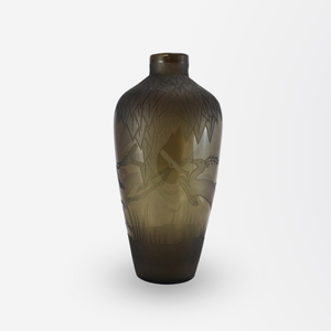 Verart Paris Art Deco Glass Vase with Acid Etched Leaves and Stags