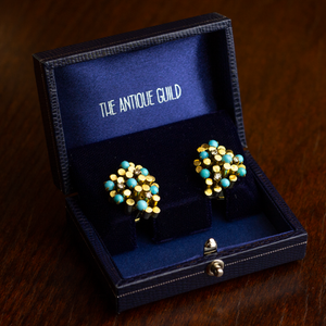 Mid Century, Gold, Turquoise & Diamond Ear Clips