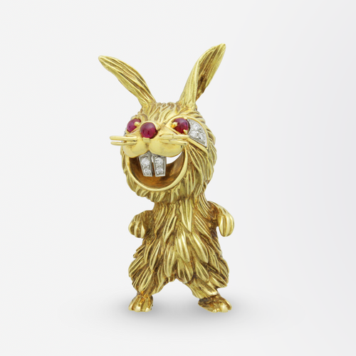 18kt Yellow Gold, Ruby, and Diamond Rabbit Brooch Pin After Kutchinsky