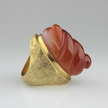 Load image into Gallery viewer, Carnelian and Gold Haroldo Burle Marx Ring - The Antique Guild