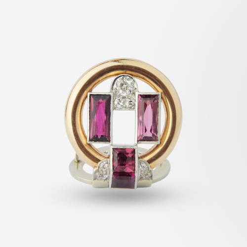 Art Deco Cartier Pin in Gold and Platinum with Tourmaline and Diamonds